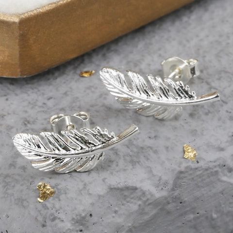 Silver Feather Earrings 11227