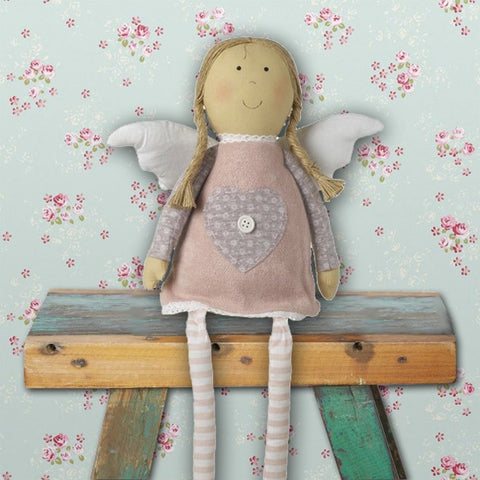 Sitting Pink Angel Doll with Heart Dress 8884