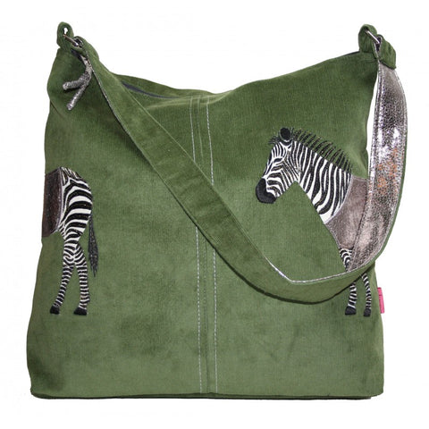 Lua Applique Shoulder Bag - Zebra in Olive 9395
