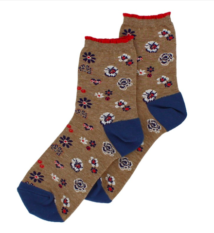 Forever England Ankle Sock - Pansy Floral Beige / Blue 8312