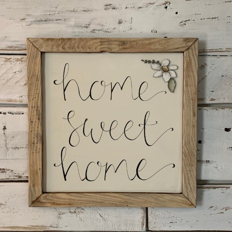 Handmade Large Framed Sign with Daisy - Home Sweet Home 9839