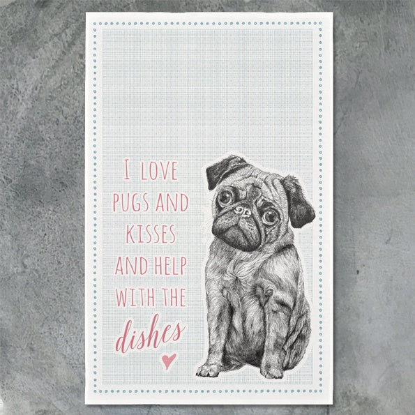 Tea Towel - Love Pugs & Dishes 9612