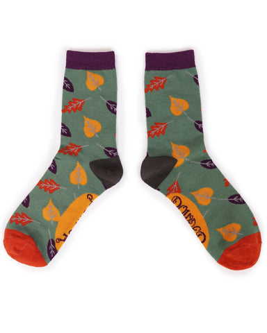 Powder Ankle Socks - Autumn Leaves in Moss 10819