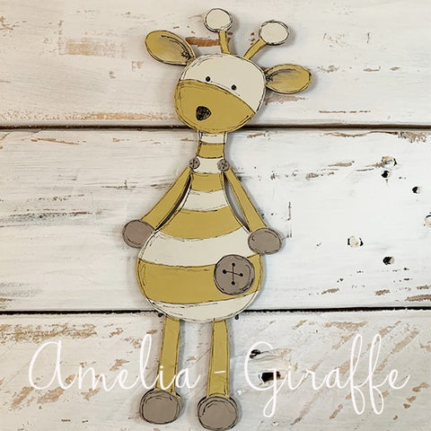 Personalised Animal Range - Amelia Giraffe Lg Plaque 9679