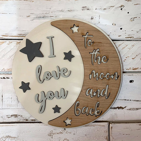 Handmade Large Round Sign - Love you to the Moon 9865