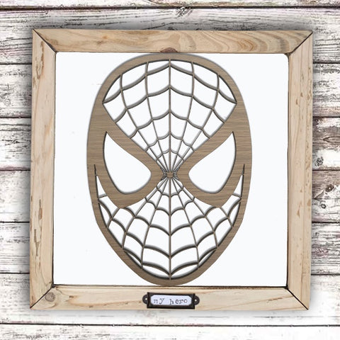 Handmade Lg Framed Superhero Sign - Spiderman 9987