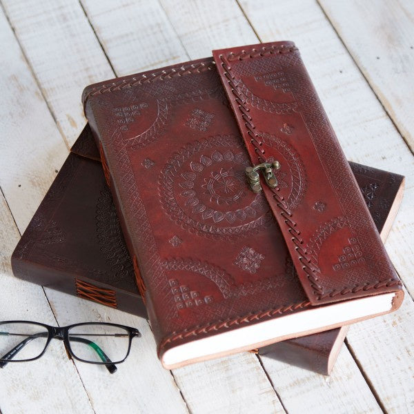 A4 Indra Clasp Stitch Embossed Leather Journal 9632