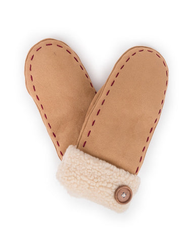 Powder Ellen Faux Suede Mittens in Natural 8221