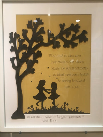 Silhouette with Tree in Lg Frame - Children Dancing 5518
