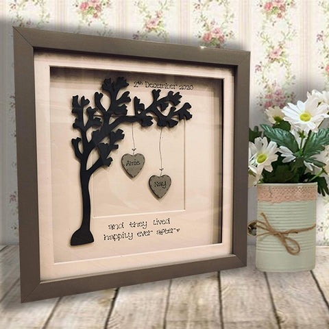 Personalised Side Tree & 2 Hearts in Sm Grey Frame 10435