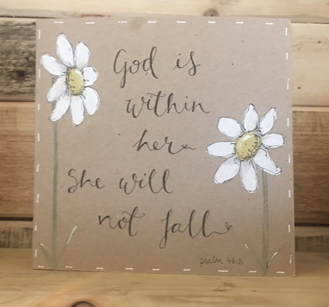 Handmade Tall Daisies Card - God is Within Her 9902