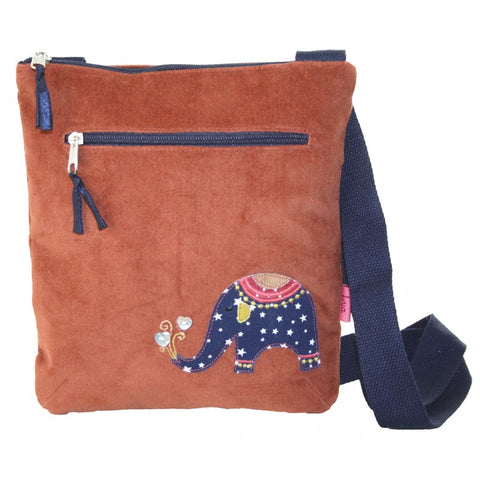 Lua Applique Messenger Bag - Elephant in Rust 9396
