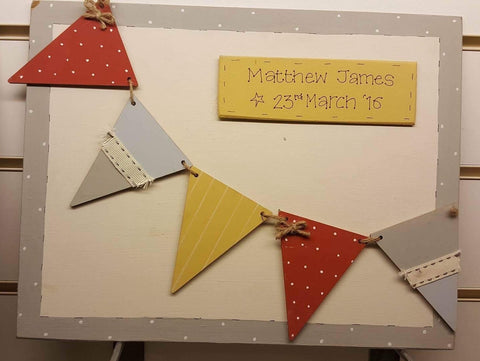 Personalised Keepsake Box Lg - Bunting Neutral 5647