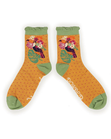 Powder Ankle Sock - Toucan in Mustard 9757
