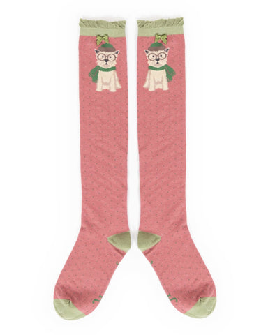 Powder Long Sock - Winter Westie in Candy 9178