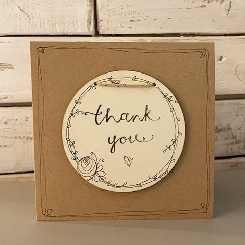 Handmade Wreath Round Plq & Card Set - Thank You 9946