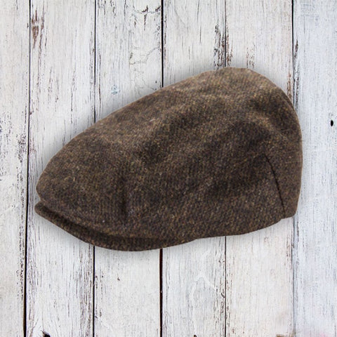Kids Tweed Flat Cap - Brown Twill 10774