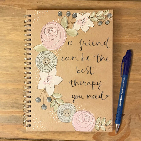Handmade Notebook with Floral Wreath - Friends Best Therapy 9890