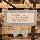 Personalised Long Border Plaque with 2 Hearts 8720