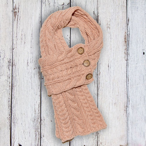 Aran Cable Button Scarf - Blush 10766