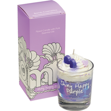Piped Candle - Shiny Happy Purple 4326