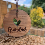 Keyring Round with Cutout - I (heart) Grandad 9064