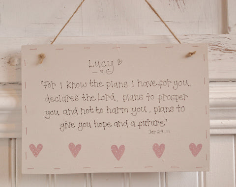XLg Sq Plaque with Sm Hearts - For I Know the Plans 7757
