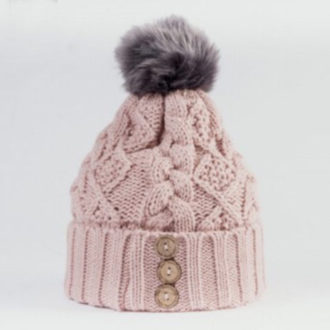 Aran Diamond Cable Button Hat - Blush / Grey 10787