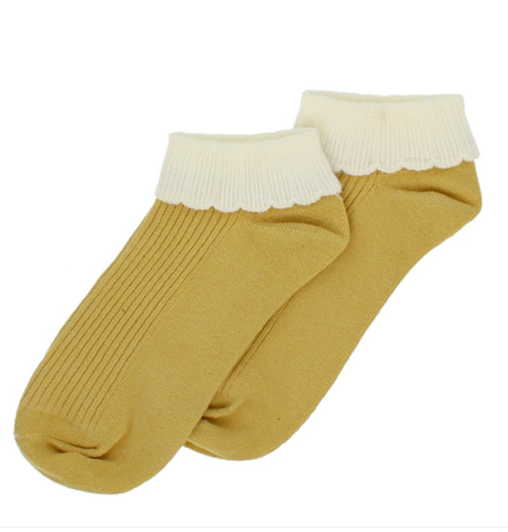 Forever England Ankle Sock - Cuff Trainer Ochre 8309