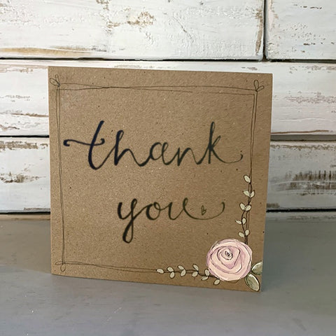 Handmade Rose Card - Thank You 9881