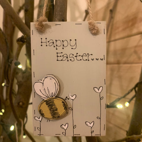 Bees & Daisies Mini Plaque - Happy Easter 11037