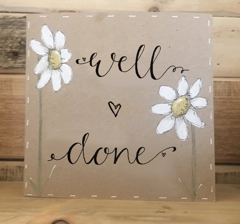 Handmade Tall Daisies Card - Well Done 9905