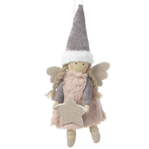 Fabric Hanging Pink Angel - With Star 6814