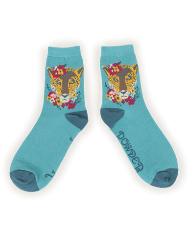 Powder Ankle Sock - Leopard in Turquoise 9762
