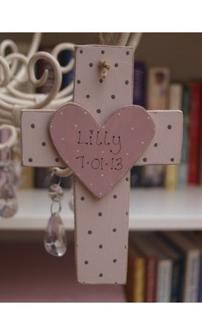 Personalised Wooden Cross - Pink 8502