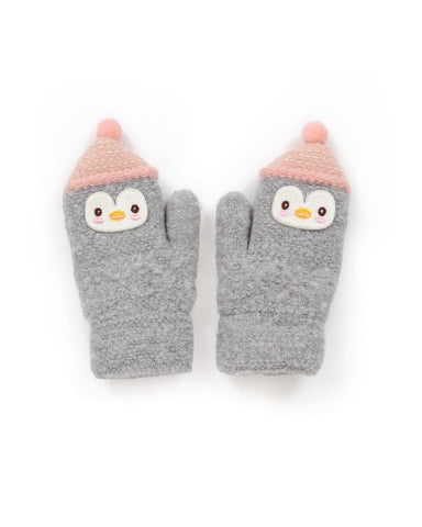 Powder Mittens - Kids Wooly Penguin in Slate 9188