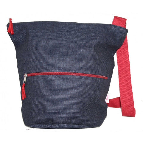 Lua Thick Cotton Bucket Slouch Bag in Navy 9403