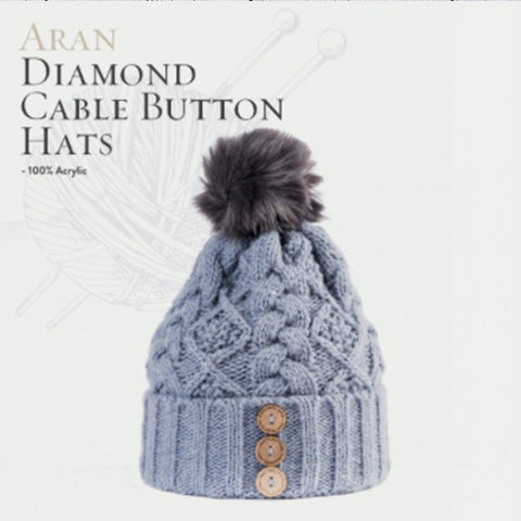 Aran Diamond Cable Button Hat - Blue 10790