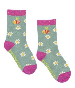 Powder Kids Short Sock - Happy Bee Mint 2-4yrs 5996