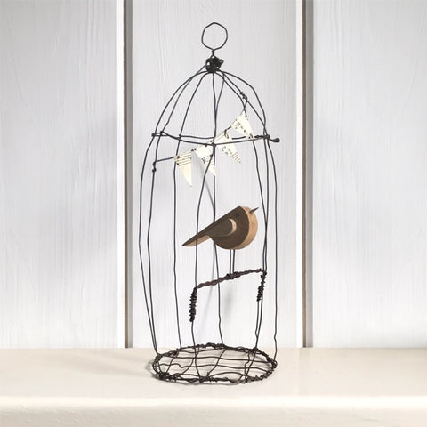 Naive Bird in Wire Cage - Large 10324