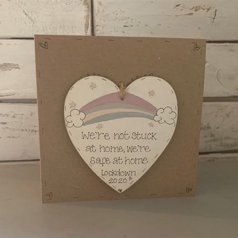 Personalised Rainbow Heart Plq & Card Set 9917
