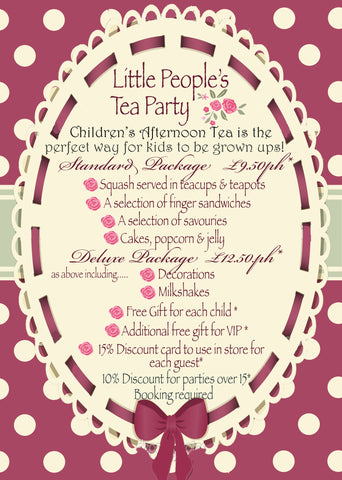 Little Persons Afternoon Tea Party Package - Deluxe