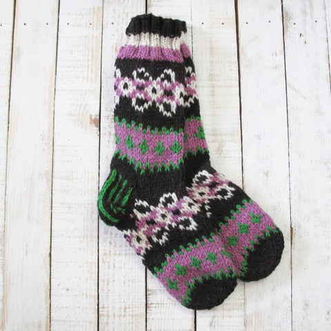 Makalu Socks - Black, Pink & Green 8264