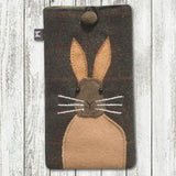 Earth Squared Animal Applique Glasses Case - Hare in Brown 9378
