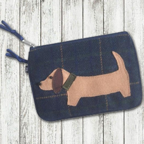 Earth Squared Animal Applique Juliet Purse - Sausage Dog in Navy 9377