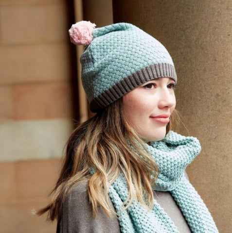 Earth Squared Knitted Bobble Hat - Opal 7109