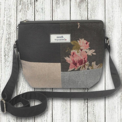 Earth Squared Patchwork Messenger Bag - Grey 9370