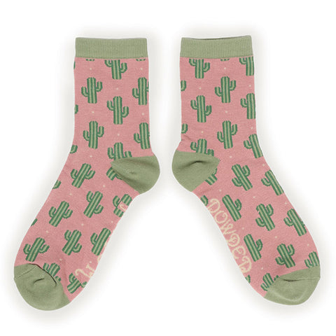 Powder Ankle Sock - Cacti in Pink 10146