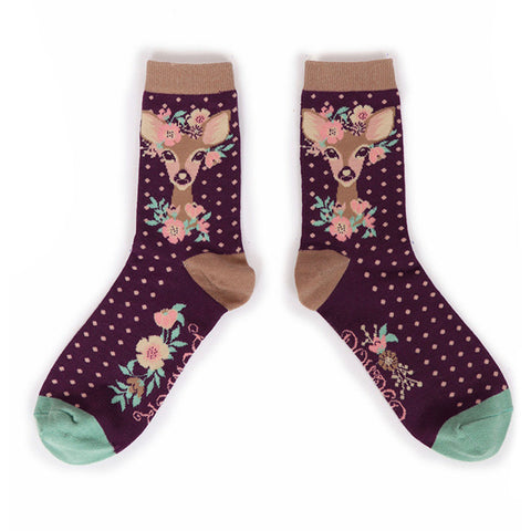 Powder Ankle Socks - Floral Deer in Damson 10553