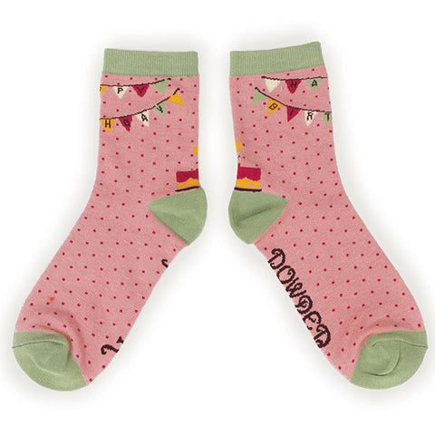 Powder Ankle Sock - Happy Birthday In pink 10147